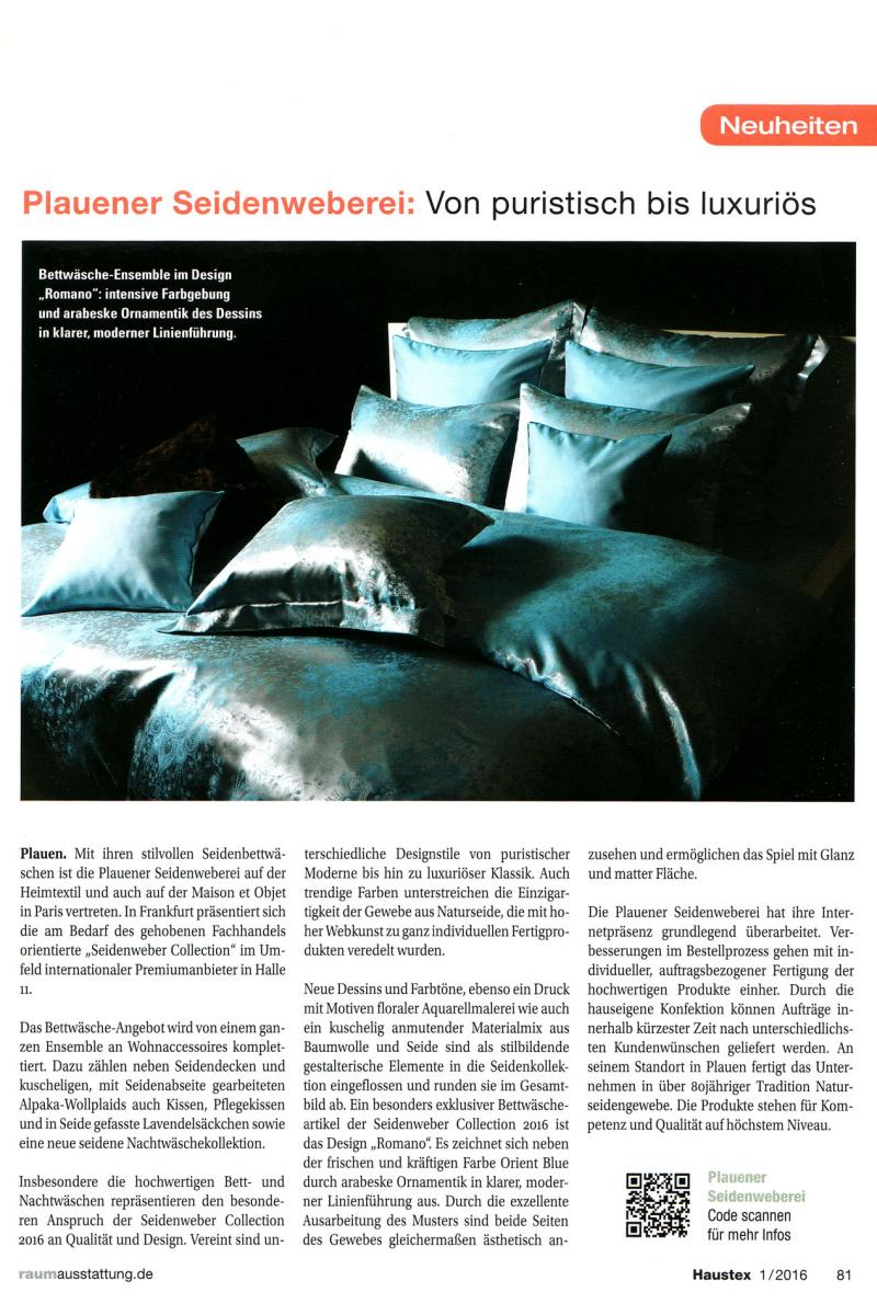 haustex beitrag ausgabe 01 2016 plauener seidenweberei gmbh. Black Bedroom Furniture Sets. Home Design Ideas